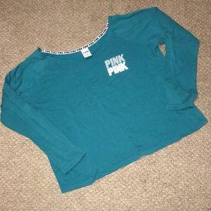 Pink Sz L scoop/off shoulder light sweatshirt